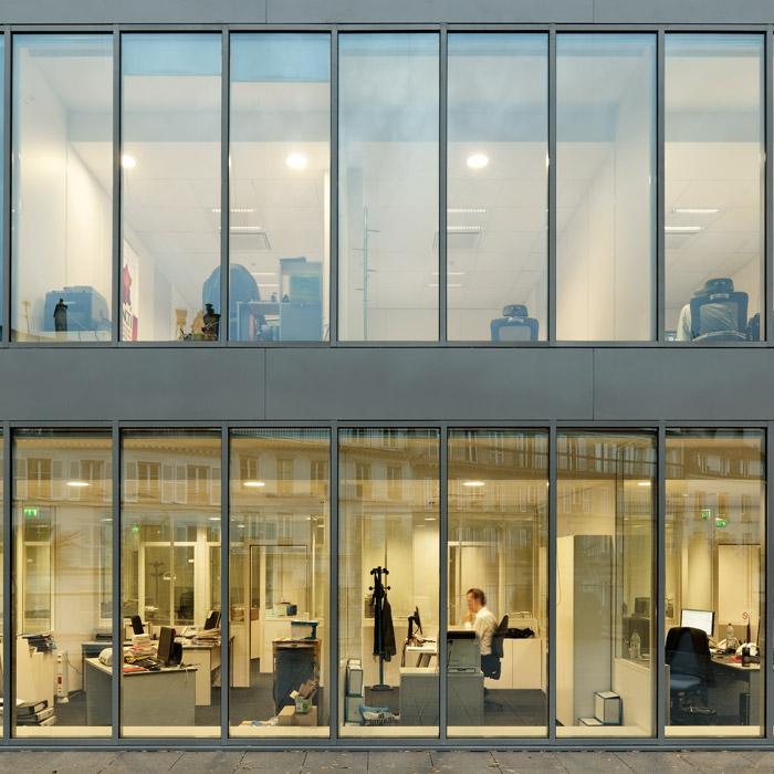 Photographie d 39 architecture bureaux paris hardel et le for Immeuble bureau architecture
